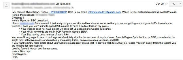 seo spam email